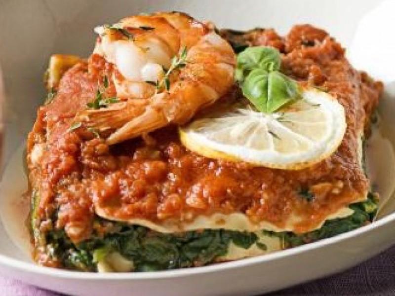 Lasagne scampi wok